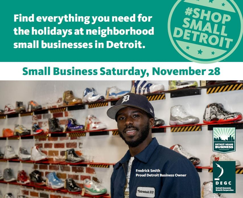 Shop Small Detroit flyer featuring Fedrick Smith, owner of Fahrenheit 313